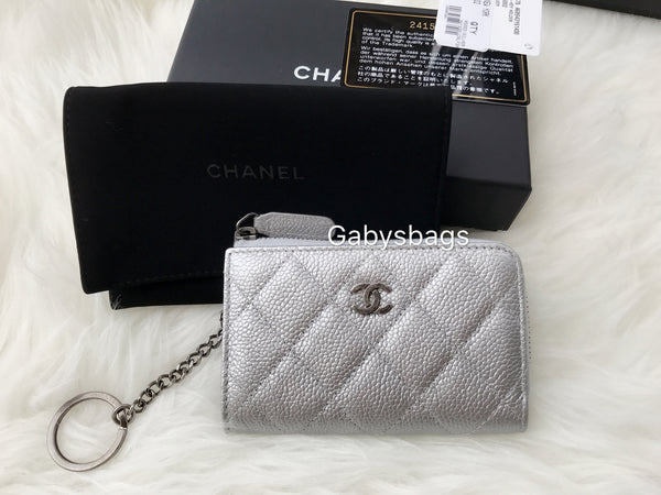 8fac74a30371 NWT Chanel Key Chain O Case Card Holder Silver Caviar Ruthenium