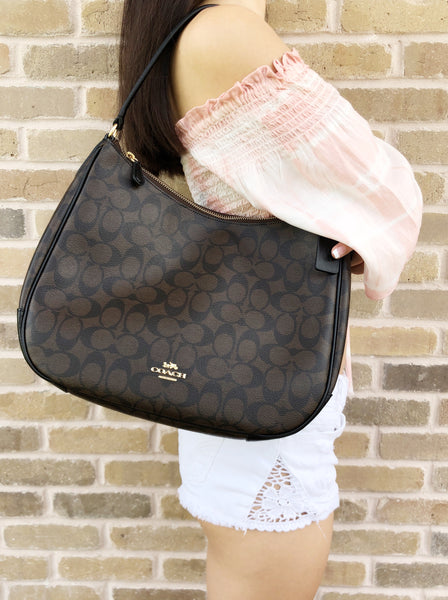 Coach F29209 Top Zip Shoulder Hobo Bag Brown Signature Black Leather - Gaby's Bags
