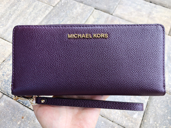 5d9c70cffaac98 Michael Kors Jet Set Travel Continental Wallet Long Wristlet Damson Purple  Mulberry