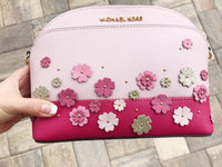 Michael Kors Emmy Small Cindy Dome Medium Crossbody Pink Floral Glitter - Gaby's Bags