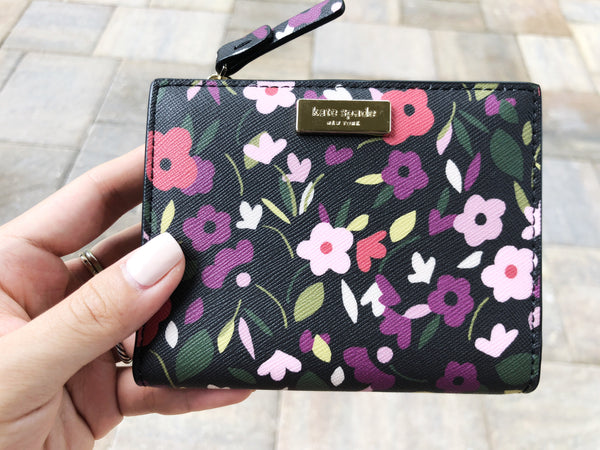 Kate Spade Laurel Way Boho Floral Small Shawn Wallet Black Multi - Gaby's Bags