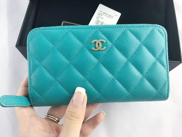 EUC Chanel Small Zip Around Wallet Turquoise Caviar Light Gold Card Holder Coin O Case - Gaby's Bags