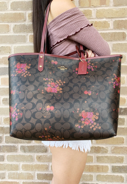 Coach F36658 Reversible City Tote Signature Brown Red Floral - Gaby's Bags