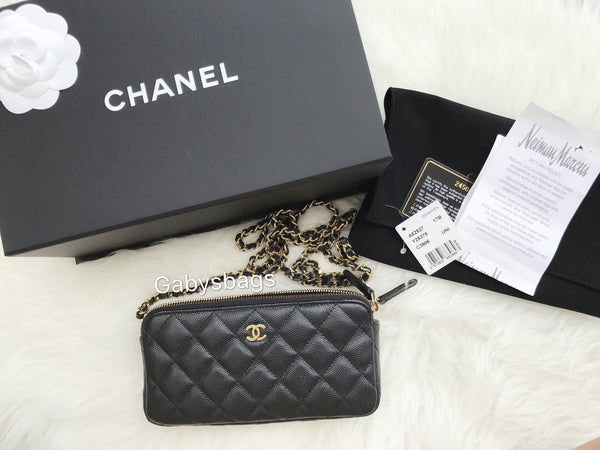 63bb4d9cb1c9 NWT Chanel Double Zip WOC wallet on Chain Small Crossbody Black Caviar Gold