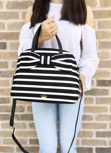 Kate Spade Olive Drive Lottie Satchel Crossbody Black Natural Stripe Bow - Gaby's Bags