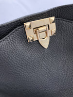 Authentic Valentino Rockstud Medium Pebbled Leather Tote Crossbody Black - Gaby's Bags