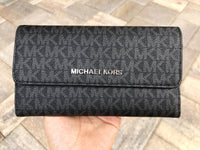 Michael Kors Jet Set Travel Large Trifold Wallet Black Signature MK - Gaby's Bags
