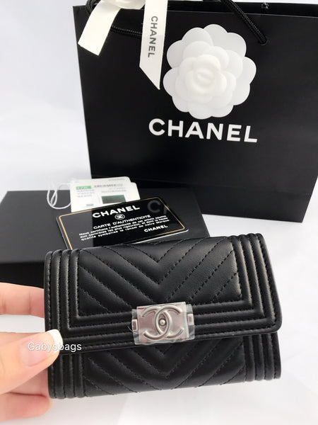 b106b936ecc1 Chanel Le Boy Flap Flat O Card Holder O Case Wallet Black Chevron Lambskin