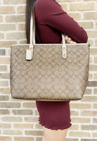 Coach F58292 Signature City Top Zip Tote Khaki Rose Gold - Gaby's Bags