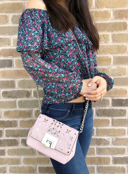 Michael Kors Tina Stud Small Clutch Bag Crossody Blossom Pink Floral Perforated - Gaby's Bags