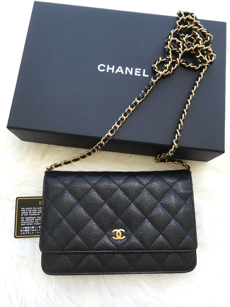 97b5343f1211 Authentic Chanel Classic Wallet on Chain WOC Black Caviar Quilted - Gaby's  Bags