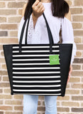 Kate Spade Olive Drive Stripe Savannah Large Tote Black Natural Canvas Leather - Gaby's Bags