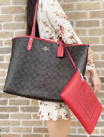 Coach F36658 Reversible City Tote Signature Brown Red - Gaby's Bags