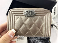 NWT CHANEL Le Boy Caviar O Coin Card Holder Wallet 17K Metallic Bronze