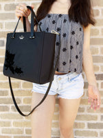 Kate Spade Dawn Place Embellished Alyse Small Kona Satchel Tote Black - Gaby's Bags