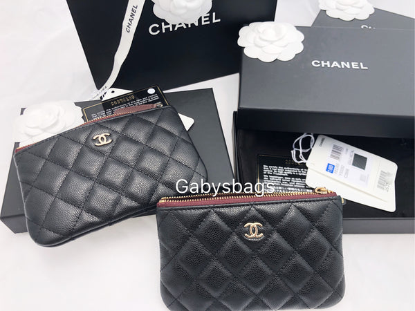 5c03ec1719f0 Chanel Caviar Small O Case Card Holder Cosmetic Black Zip Wallet