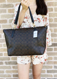 Coach F58318 F55064 Signature Ava Large Top Zip Tote Brown Black - Gaby's Bags