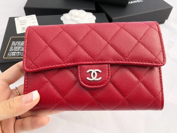 NWT Chanel Caviar 17B Dark Red Silver Long Tri fold Wallet NEW 2017
