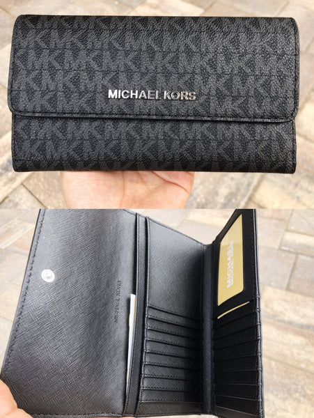 6f4a8549bdf7 Michael Kors Jet Set Travel Large Trifold Wallet Black Signature MK