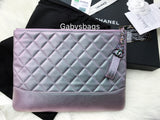 NWT Chanel Gabrielle O Case Clutch Purple Iridescent Mermaid Rainbow Hardware