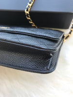 Authentic Chanel Classic Wallet on Chain WOC Black Caviar Quilted - Gaby's Bags
