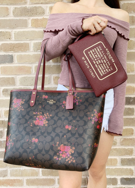 abcfaabf1547 ... Coach F36658 Reversible City Tote Signature Brown Red Floral - Gaby s  Bags ...