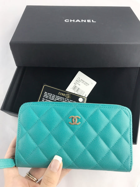 12d1a3f4081 ... EUC Chanel Small Zip Around Wallet Turquoise Caviar Light Gold Card Holder  Coin O Case ...
