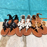 Tory Burch Phoebe Flat Thong Sandals Black Leather Miller Logo - Gaby's Bags