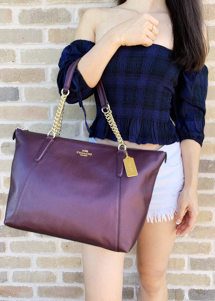 Coach F35868 Leather Ava Tote Large Top Zip Tote Metallic Purple - Gaby's Bags