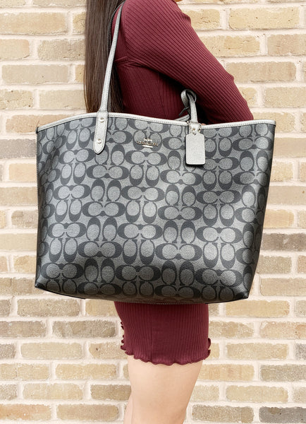 Coach F36658 F39518 Reversible City Tote Signature Metallic - Gaby's Bags
