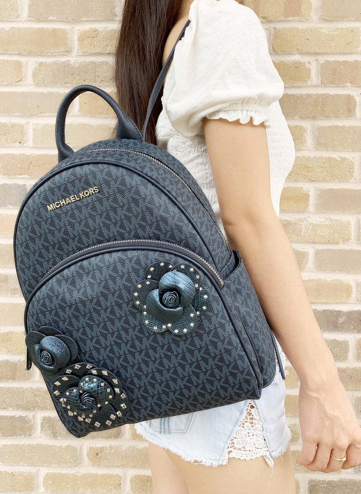 8dc54d38a5556 Michael Kors Abbey Medium Backpack Admiral Blue MK Signature Flower School  Bag