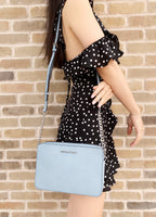 Michael Kors Jet Set Travel Large East West Crossbody Powder Blue - Gaby's Bags
