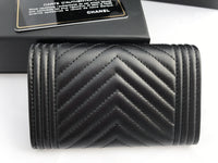 Chanel Le Boy Flap Flat O Card Holder O Case Wallet Black Chevron Lambskin - Gaby's Bags