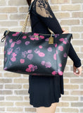 Coach F58318 Signature Ava Large Top Zip Tote Black Floral - Gaby's Bags