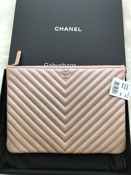 895e67b53947dc Authentic Chanel Caviar Medium O Case Clutch Handbag Light Rose Gold