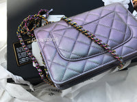 NWT Chanel Classic Wallet on Chain WOC Iridescent Purple Mermaid Rainbow Quilted