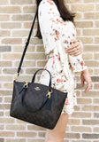 Coach F28989 Light Weight Small Kelsey Satchel Signature Brown Black - Gaby's Bags