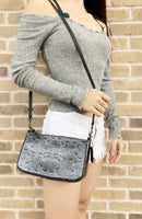 Coach F58321 F56518 Top Handle Pouch Zip Clutch Crossbody Charcoal Gray - Gaby's Bags