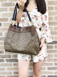 Coach F27972 Lexy Shoulder Bag Khaki Signature Saddle Leather Trim - Gaby's Bags