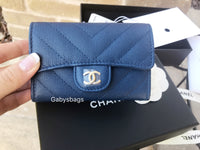 NWT Chanel Caviar Flap Flat O Card Holder O Case Wallet Blue Chevron 18 Cruise