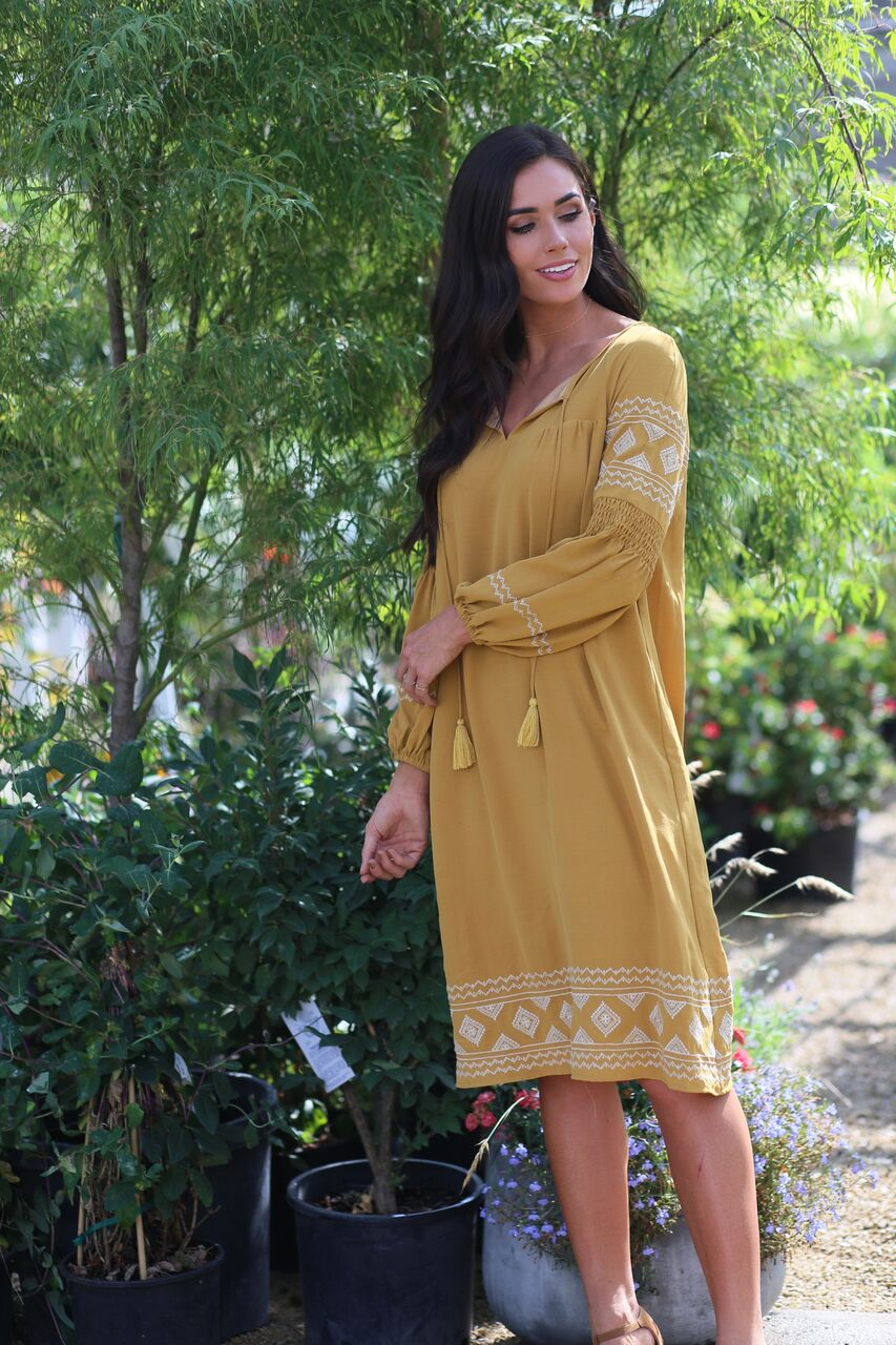The Emily Dress in Mustard