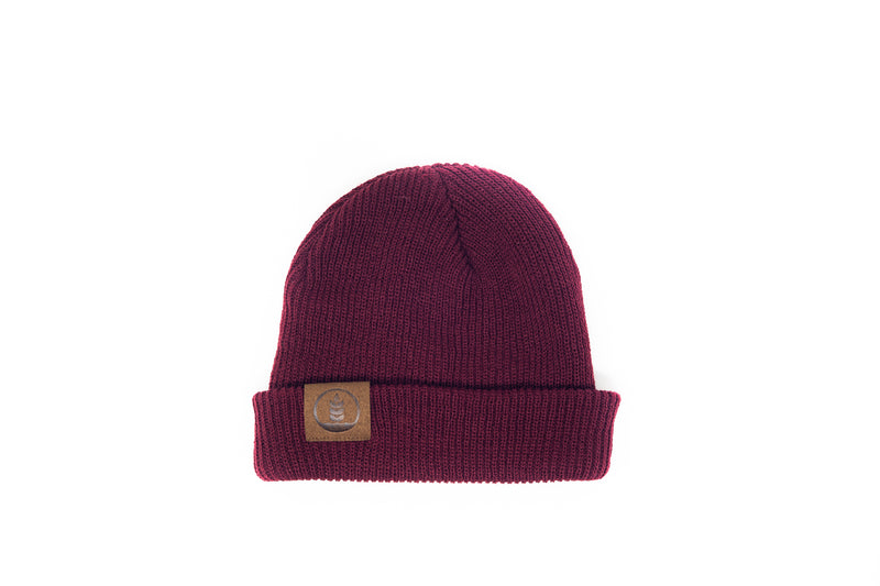 Knitted Beanie w/ Leather Logo