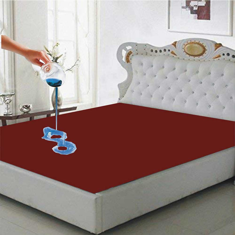 Waterproof Mattress Protector Double Fitted Bed Sheet King Size: 72 X 78 - Maroon