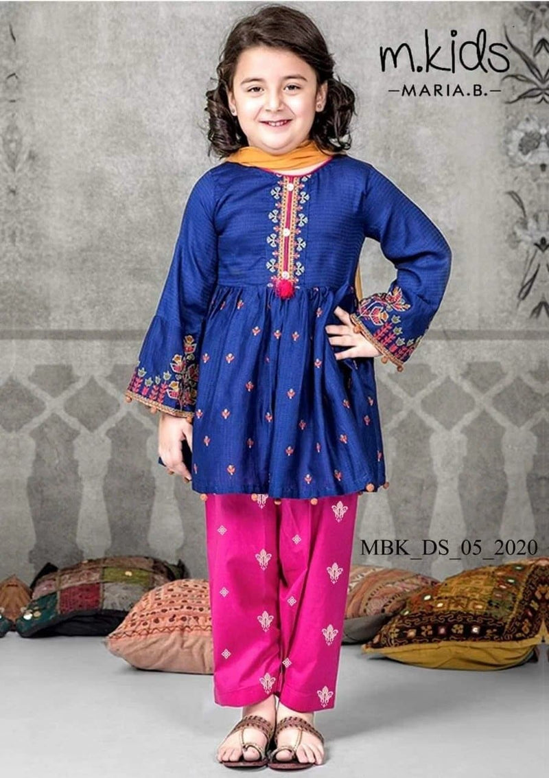 Maria B D-15 Blue kids Wear Lawn Embroidered two piece