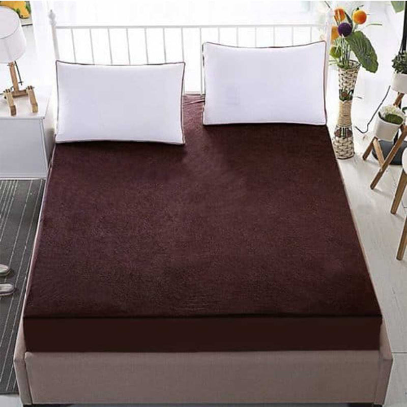 Waterproof Mattress Protector Double Fitted Bed Sheet King Size: 72 X 78 - Chocolate