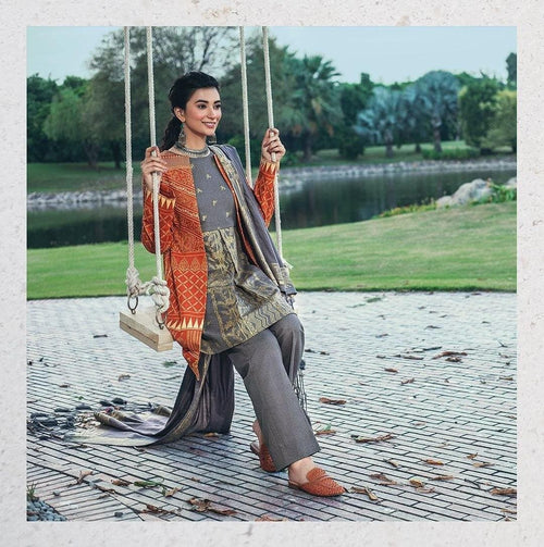 EMBROIDERED JACKET STYLE KHUDDER DRESS WITH MARINA EMBROIDERED INNER- 100057 - Chenab Stuff