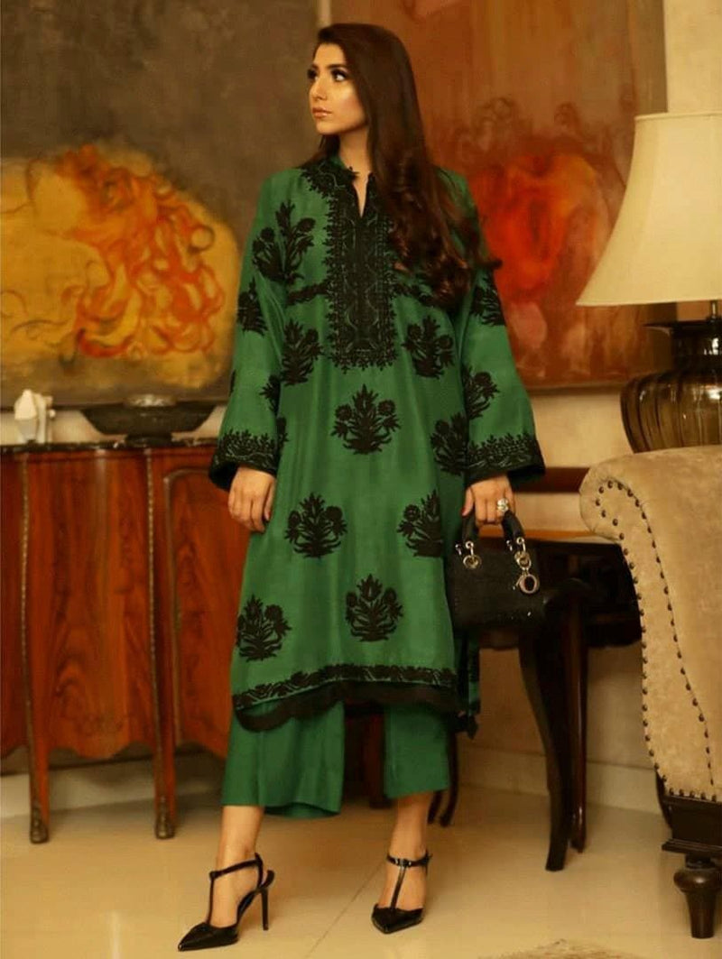 EMBROIDERED LINEN 2 PC DRESS- 1000559 - Chenab Stuff