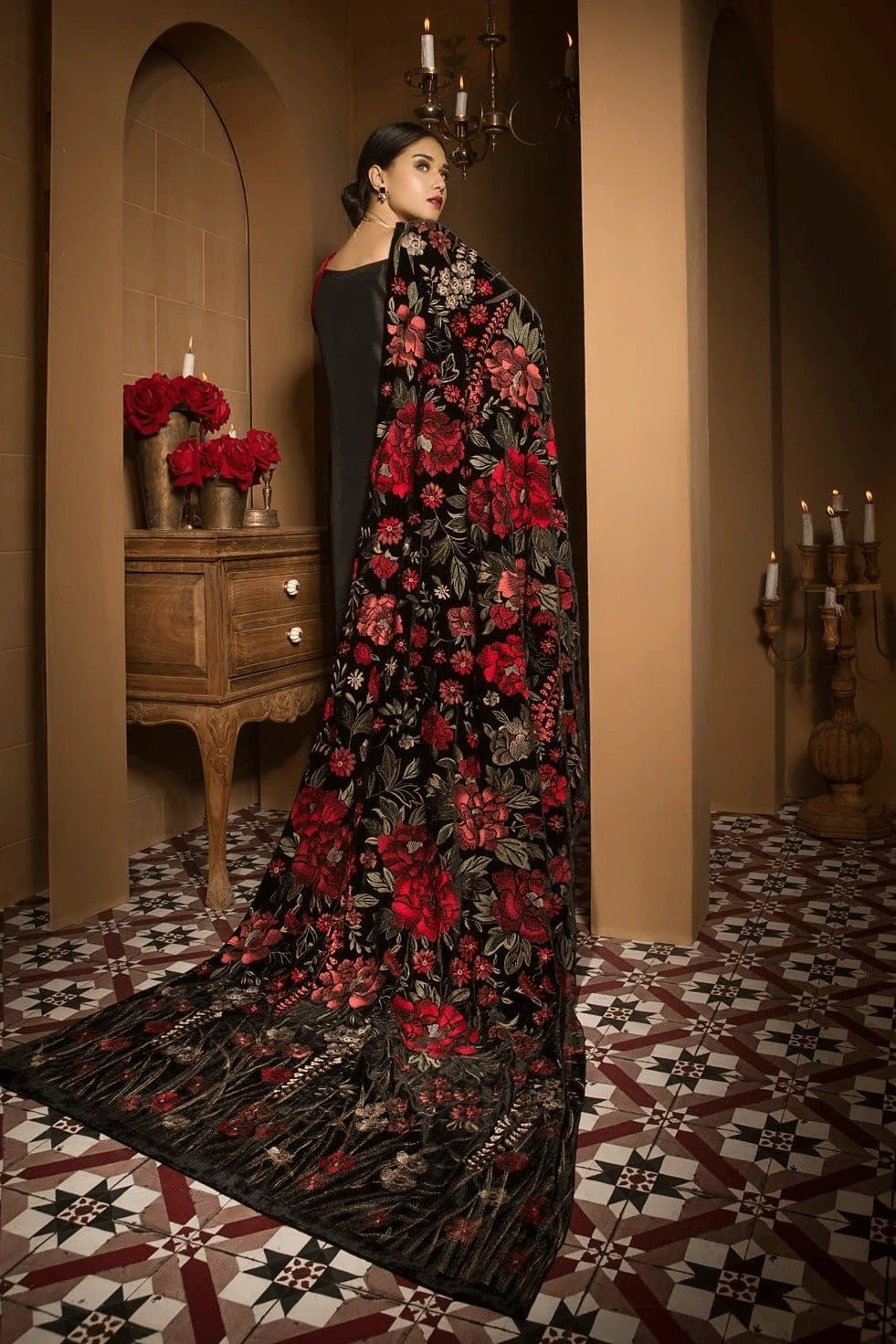 Bareeze Br-0001 Embroidered Fine Quality Velvet Shawl