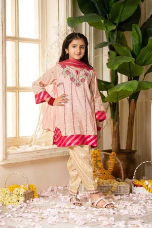 CS-03 pink Printed_Embroidered kids Wear Lawn two piece