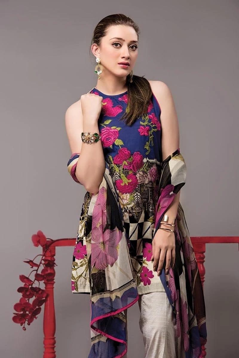 Ethnic ET-5B Embroidered Three Piece Linen Collection